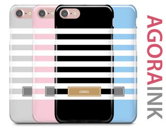 Personalized iPhone Case, iPhone 7 Case, iPhone 7 Plus Case, iPhone 6S, iPhone 6, Monogram Case, Galaxy S8 Case, Color Block Stripe w Name