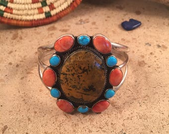 Vintage Navajo Multi Stone and Sterling Silver Cuff Bracelet Signed