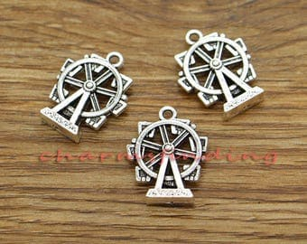 15pcs Ferris Wheel Charms Antique Silver Tone 17x22mm cf3292