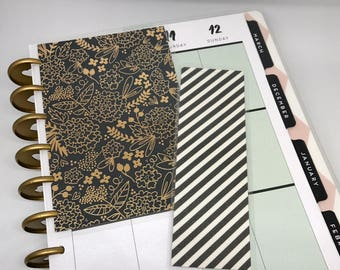 Happy Planner Dashboard Insert and Bookmark Set Planner Accessories Mambi Gold and Navy Floral Planner Supplies Back to School