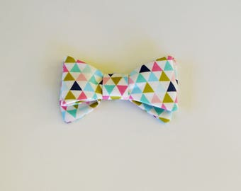 Bright Multicoloured triangles Doggy Bow Tie with Elastic Strap