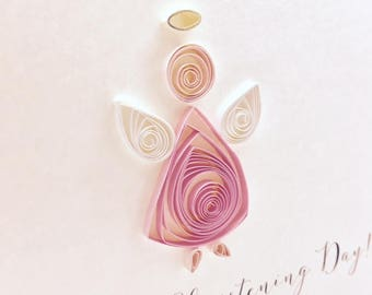 On Your Christening Day - Hand made Christening Card with quilled Angel