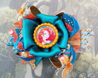 Disney Princess Merida Brave Portrait Bottle Cap Spike Tail OTT Hair Bow