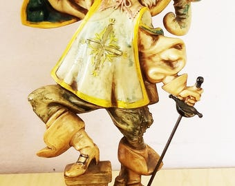 Vintage Carrara Marble Figure of a drinking musketeer , MADE IN ITALY