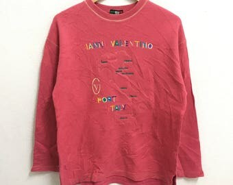 RARE!!! Gianni Valentino Sports Big Logo Multicolour Embroidery Crew Neck Pink Colour Sweatshirts Hip Hop Swag M (Ladies) Size
