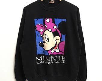 RARE!!! Minnie Mouse Cartoon Disneyland Big Logo Multicolour SpellOut Crew Neck Black Colour Sweatshirts Hip Hop Swag L Size