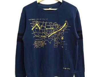 RARE!!! Andy Warhol Pop Art Big Logo Crew Neck Blue Colour Sweatshirts Hip Hop Swag L Size