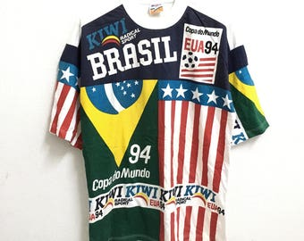 RARE!!! Brasil Usa 94 Copa do Mundo Big Logo Multicolour SpellOut Crew Neck White Colour T-Shirts M Size