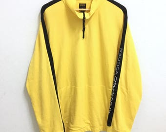 RARE!!! Nautica Competition Small Logo SpellOut Half Zipper Yellow Colour Long Sleeve T-Shirts Hip Hop Swag XL Size