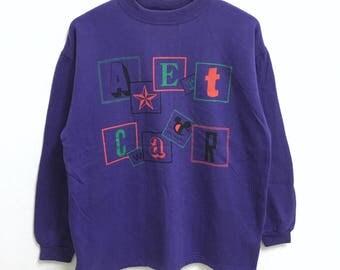 RARE!!! Vintage Character Parody Big Logo SpellOut Crew Neck Purple Colour Sweatshirts Hip Hop Swag M Size
