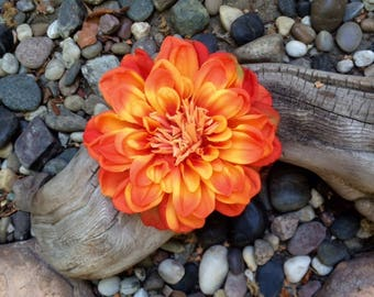 Dahlia Tropical Orange large silk flower hair clip