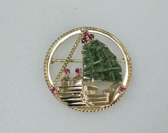 Vintage Estate 14K Yellow Gold, Jade, Ruby and Diamond Brooch Pin