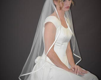 "42"" Fingertip Veil with 3/8"" Folded Satin Ribbon Edge"