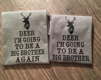 Big brother announcement shirt, big brother shirt, going to be a big brother, big brother announcement, deer shirt, big brother again shirt