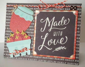 card thank you, handmade card, card friendship card fall basket of fruit, Strawberry Jam card card