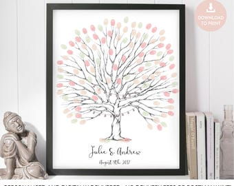 fingerprint tree, wedding tree, guest book, finger print tree, wedding tree printable, fingerprint tree printable, fingerprint guest book