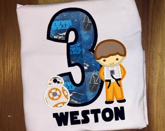 Star Wars Pilot and Droid Birthday Shirt Embroidered and Applique Shirt