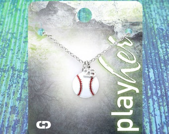 Customized Baseball Second Base Enamel Necklace - Personalize with Jersey Number, Heart, or Letter Charm! Great Baseball Mom Gift!