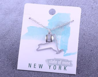 Customizable! State of Mine: New York Softball Silver Necklace - Great Softball Gift!