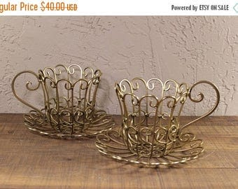ON SALE Alice in Wonderland Teacups Centerpieces Wire Gold
