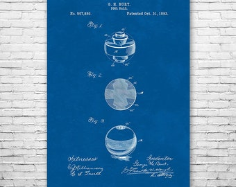 Billiard Pool Ball Poster Patent Art Print Gift, Billiards Poster, Billiard Ball, Billiards Gift, Pool Gift, Patent Print, Patent Poster