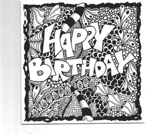 Zendoodle greeting card Happy Birthday