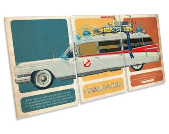 Ghostbusters Ecto-1 Car Film Movie Treble CANVAS WALL ART Picture Print