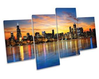 Chicago Illinois Sunset Skyline CANVAS WALL ART Four Panel Print