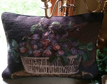 Needlepoint Pillow with Velvet zippered back; Pipping Border; Grapes in a Basket