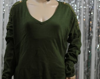 Vintage 90's Army Green Romeo & Juliet Couture Vintage Green Top (M)