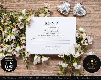 Wedding RSVP Card Template, Editable Wedding Rsvp Template, Rsvp Printable, Rsvp Card for Wedding, Rsvp Card Printable, Rsvp PDF (Anabelle)