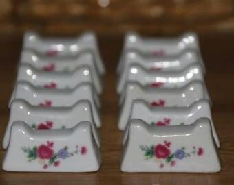 Vintage Knife Rests, Ceramic Faience Knife Rests, Ceramic Knife Holders,  Knife Rests,