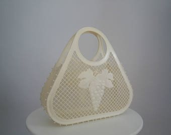 Vintage 1960s plastic bag   60s plastic market bag  