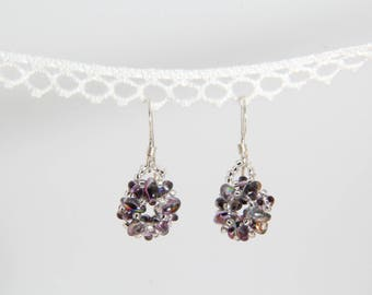 Beaded Rounds Glass and Silver Earrings