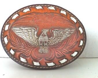 Leather Eagle Belt Buckle/Vintage Eagle Belt Buckle/Tooled Leather Eagle Belt Buckle/American Eagle Belt Buckle/Retro Eagle Belt Buckle