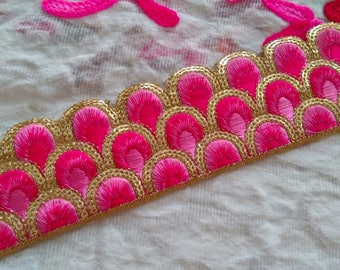 Pink Embroidered Saree Border Fabric Trim By The Yard Indian Laces and Trims Wholesale  Ribbon Indian Sari Border gold indian trim ft144