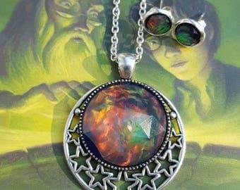 Albus Faux Opal Jewelry, Purple Fire Opal Gems, Fairytale Jewelry, Fantasy, Fire Opal Earrings, Fire Opal Pendant, Wizard Jewelry