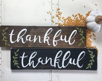 "Hand Painted ""Thankful"" Sign // Fall Decor // Thanksgiving Sign // Thanksgiving Decor // Thankful Sign // Fall Decorations // Fall Quote"