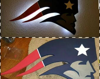 Patriots Wooden Sign with LED'S and Remote!