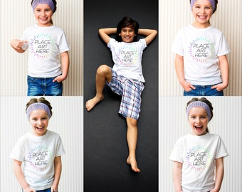 Professional Kids Tshirt Mockup Instant Download | Child T-shirt Top Mock-up 7 JPEG Files | Commercial Use
