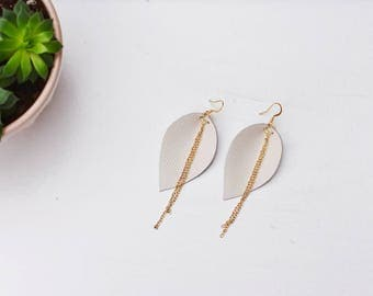 Leaf-Shaped White Leather Earrings with Gold Chain