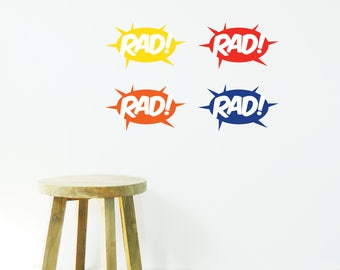 RAD COMIC SOUNDS Wall Sticker, Removable Decal, Made In Australia