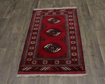 Excellent Extra KPSI Red Tribal Turkoman Persian Rug Oriental Area Carpet 3X5