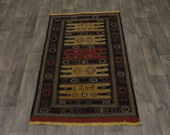 Gorgeous Design Hand Woven Wool Sumak Persian Rug Oriental Area Carpet 3X5ʹ6