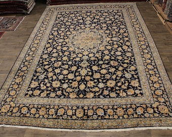 12X17 Amazing Palace Size Navy Kashan Persian Rug Oriental Area Carpet 11ʹ6X17ʹ4