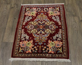 Fine Classic Design Small Size Red Kashan Persian Rug Oriental Area Carpet 2X3