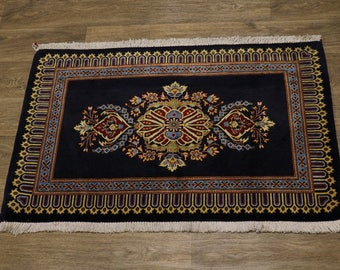 Fanciful Hand Knotted Small Navy Kashan Persian Rug Oriental Area Carpet 2'5X3'4
