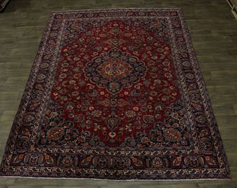 Gorgeous Hand Knotted Antique Red Mashad Persian Rug Oriental Area Carpet 8X11