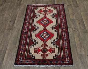 Dazzling Unique Design Tribal Balouch Persian Rug Oriental Area Carpet 3'4X6'4