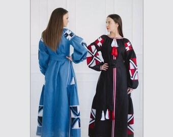 Ethnic  Ukrainian embroidered  Vyshyvanka Natural Linen Fabric Boho style Maxi